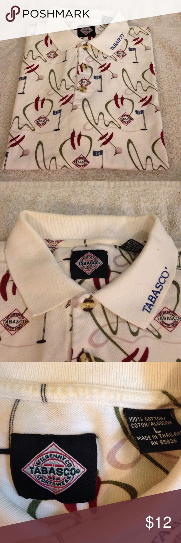 Tabasco White Golf and Pepper Polo Shirt L Tabasco White Golf and Pepper Pattern Polo Shirt size L! Great condition! Please make reasonable offers and bundle! Ask questions! :) Tabasco Shirts Polos