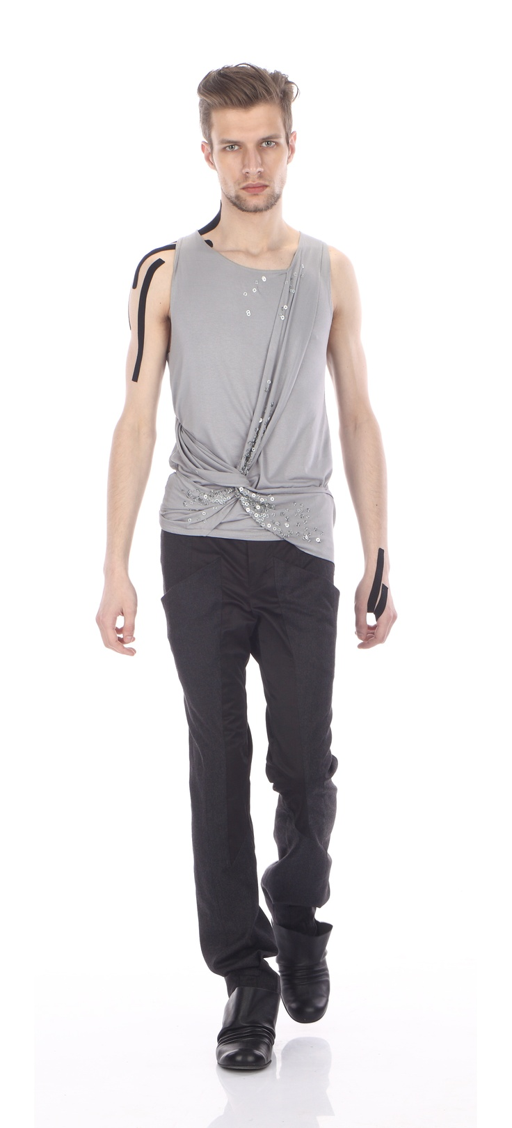 Draped top ( cotton jersey), trousers ( wool & satin), shoes ( leather)