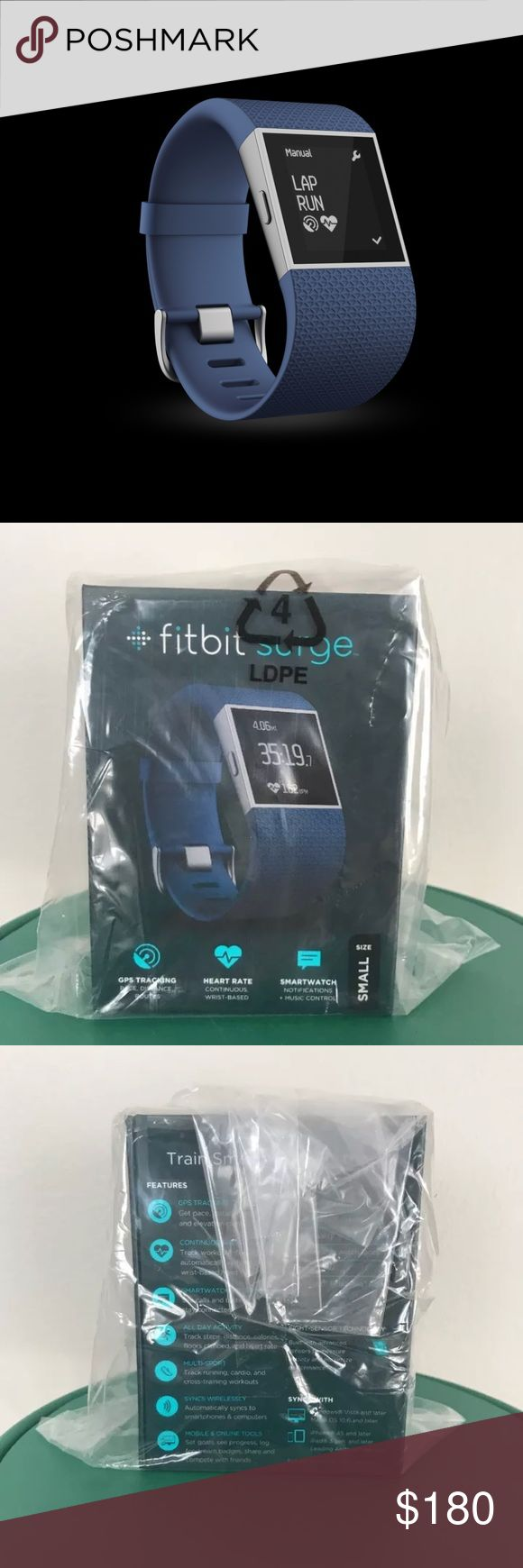 NEW IN BOX Fitbit Surge Navy size Small Never opened, brand new Fitbit Surge. Great for everyday and working out. Has GPS, heartrate, sleep tracking, and many more great features.   Please let me know if you have any questions! Fitbit Other