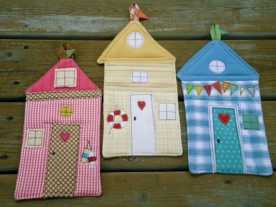 Summer Fun, Beach Hut potholder via Etsy - these are cute and would make nice bunting