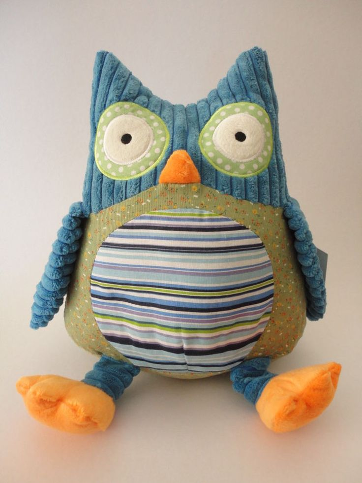 Harry the Blue Owl Plush Toy - Soft and Cuddly Textured Fabrics - 27cm long