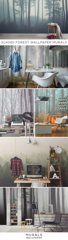 Love Scandinavian interior design? Take a look at these beautiful forest wallpaper murals that are sure to get that Nordic feeling in your home.
