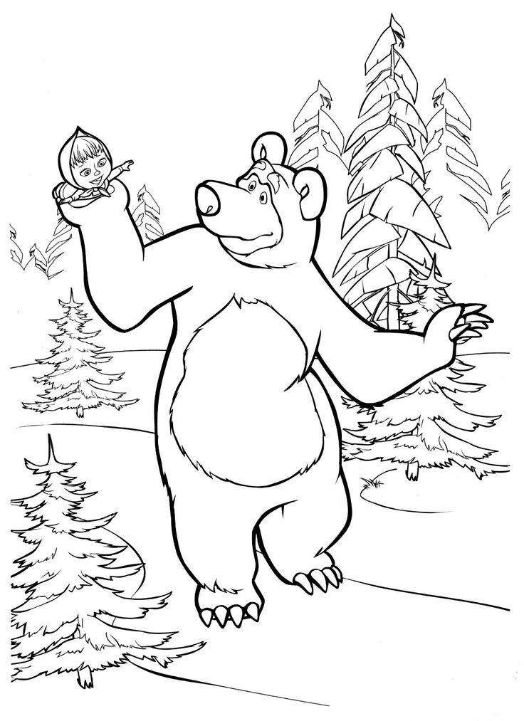 Раскраска Маша и Медведь Раскраски из мультика Маша и ...
