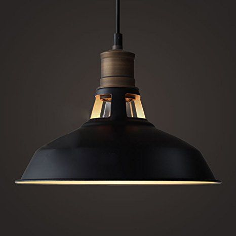YOBO Lighting Antique Industrial Barn Hanging Pendant Light with Metal Dome Shade, Matte Black
