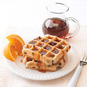 Chocolate Chip Waffles Recipe - can easily make gluten free by using GF flour.  From myrecipes.com