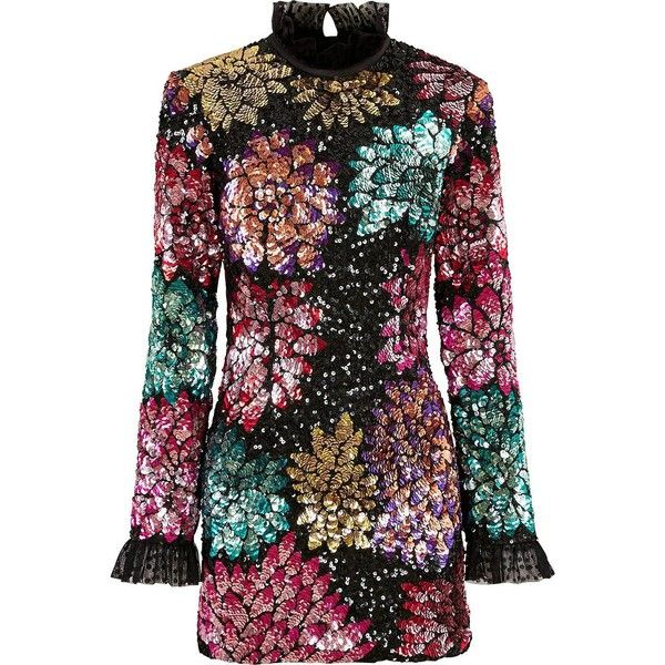 Millie Mackintosh Ossington Sequin Dahlia Dress (2628010 PYG) ❤ liked on Polyvore featuring dresses, multi colored sequin dress, multicolor sequin dress, multi print dress, multi-color dress and multicolored dress
