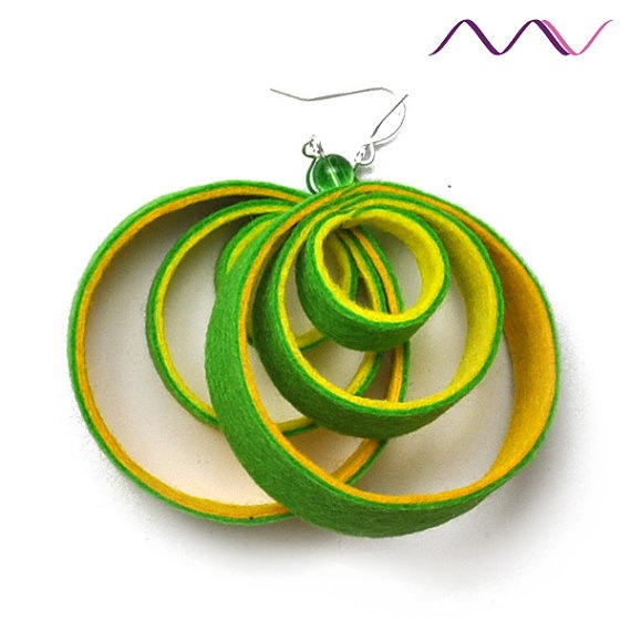 melon yellow orange green felt hoop earrings / clipon by MadameVu, $18.00