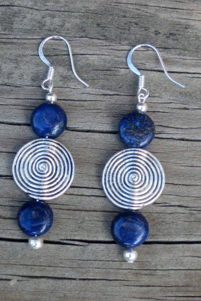 Lapis and Pewter Disk Earrings - Lapis and Silver Earrings - Lapis Earrings.