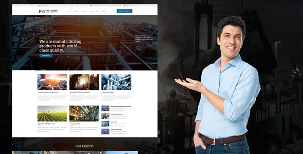 Manufacturing - Factory & Industrial Business WordPress Theme . Manufacturing is a theme for factory and industrial companies, fully responsive theme. The Theme is powered by Zurb Foundation Framework and can be a base for any kind of project. Easy color and image selection with many design settings can help you transform website into a unique business selling