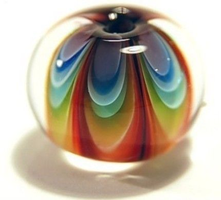 Rainbow Petal Lampwork Bead    I think this is an amazing piece of artwork in a little round form.
