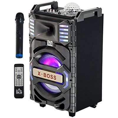HomCom 50 Watt Portable Bluetooth Subwoofer Speaker System W/ LED Party Lights