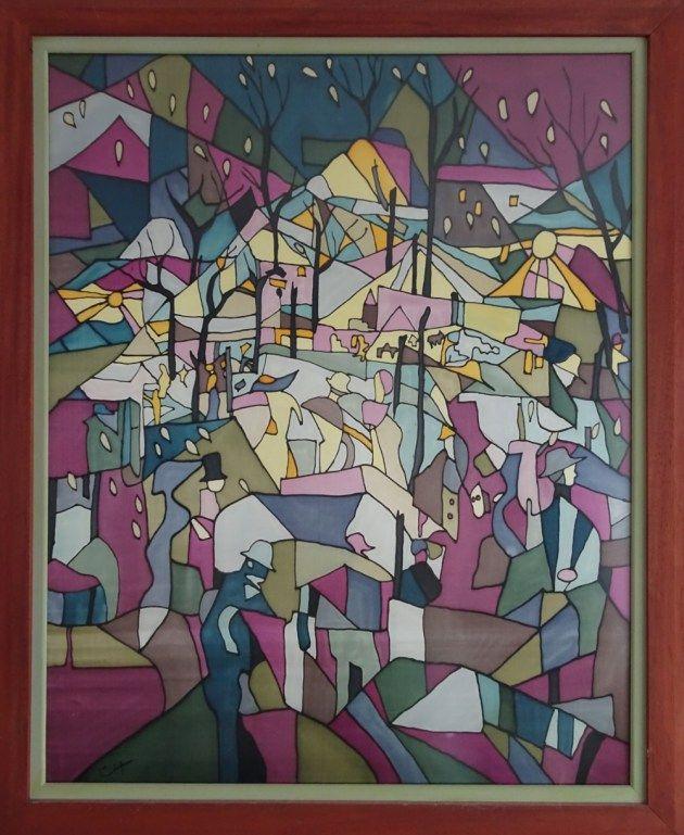 Cre Cha Tyf » High up in the mountains There is a city of light.  Zijdeschildering op satijn   –   86 x 101 cm inclusief lijst  Het schilderij is geplakt op aslan, waardoor het makkelijk verder verwerkt kan worden. Het is professioneel ingelijst in een dubbele houten lijst, die handmatig geverfd is. De glasplaat van de lijst is van mat museumglas.