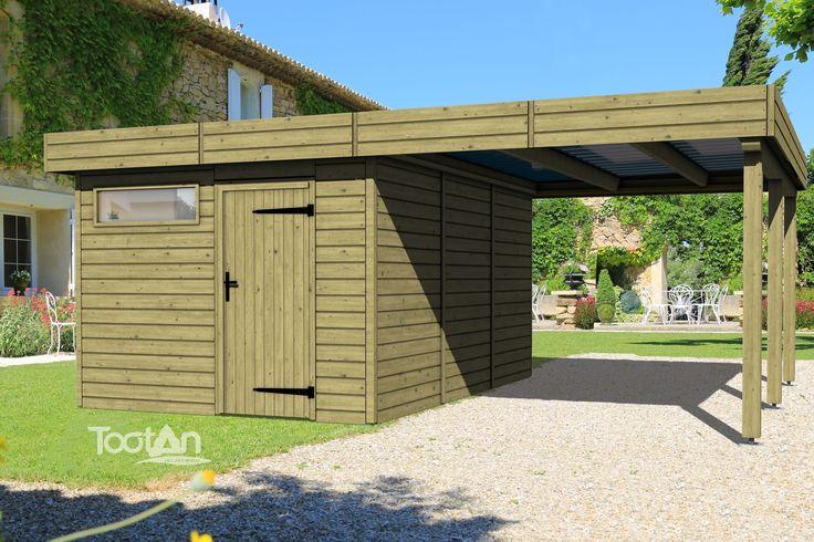 Abris de jardin - Abri toit plat + Carport | Tootan