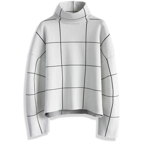Chicwish Grid Turtleneck Sweater in White ($59) ❤ liked on Polyvore featuring tops, sweaters, white, boxy turtleneck sweater, turtleneck sweater, turtleneck tops, white boxy top and turtle neck tops