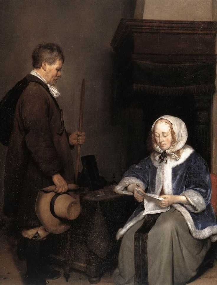 """""""Lady Reading a Letter"""" detail by Gerard Terborch"""