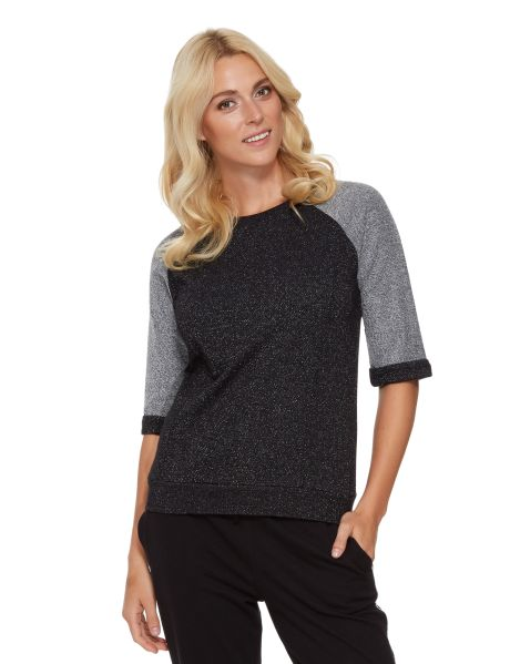 A raglan short-sleeve French terry sweater with a contrast metalised fabric.