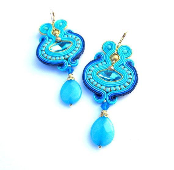 Long Dangle Drop Earrings Blue Soutache от GiSoutacheJewelry