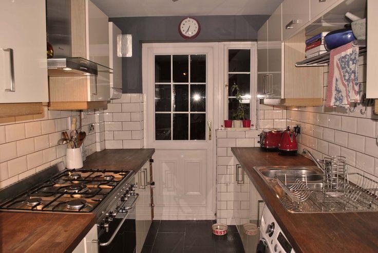 Kitchen Tiles Black Worktop black gloss kitchen wood worktop slate floor subway tiles - google
