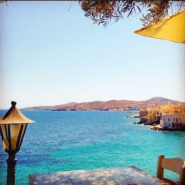 The best way to take your breakfast , at Syros island (Σύρος)☀️. Wonderful blue color of the sky & the sea .