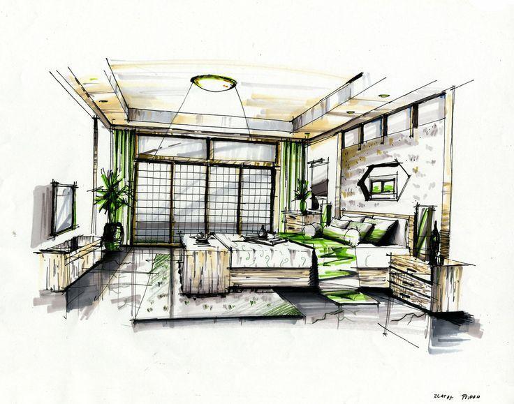 Amazing interior rendering manual rendering techniques - Hand drafting for interior design ...