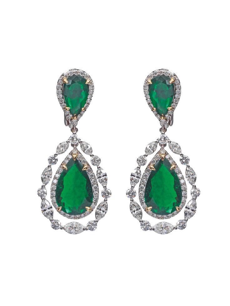 Combination of Colombian Emerald, Marquise and Brillant Cut Diamonds