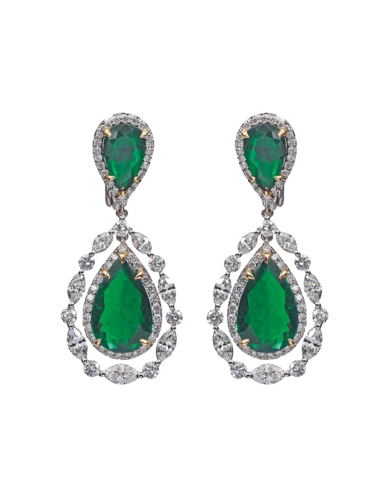 Combination of Colombian Emerald, Marquise and Brillant Cut Diamonds