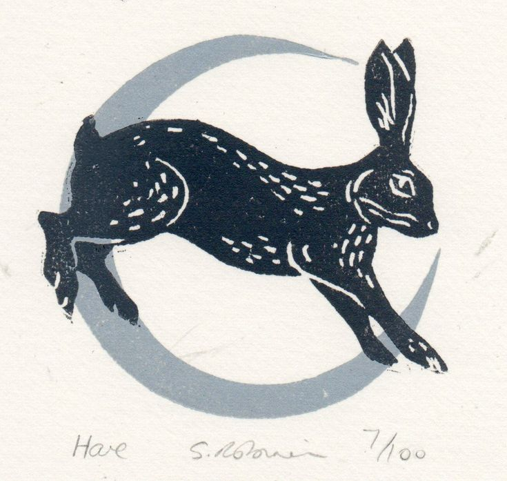 'Hare' by Sarah Robinson (2 colour linocut)
