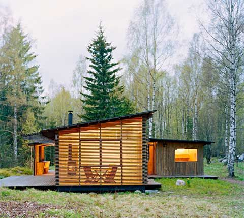 Small wooden house in Sweden is a getaway for a couple in their 60's.  Received the Swedish Wood Award.