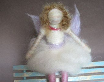 Needle felted doll, felted ballerina, with wings, white, Original design by Borbala Arvai