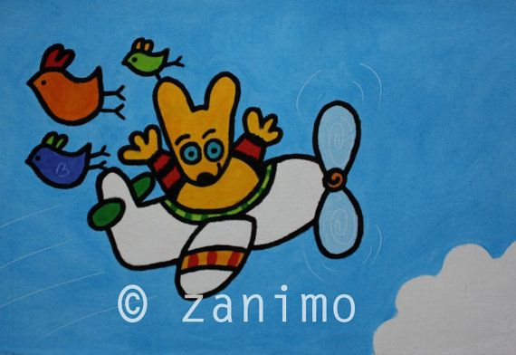 Maki flying in an airplane blue sky birds and cloud wall by Zanimo, $20.00