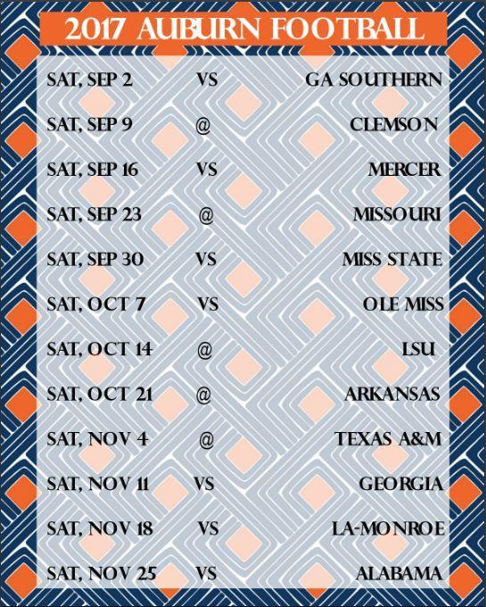 2017 Auburn Football Schedule | FREEBIE