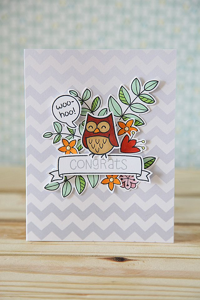 A Congrats Card with the Simon Says Stamp Card Kit, and Lawn Fawn Stamps