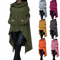 Wish | Women's Fashion Solid Color Draw Cord Coat Long Sleeve Loose Casual Poncho Coat Hooded Pullover Long Hoodies Sweatshirts
