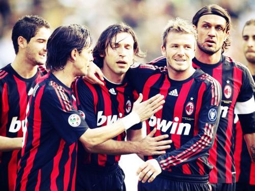 Pato, Inzagui, Pirlo, Beckham, Maldini, Flamini.