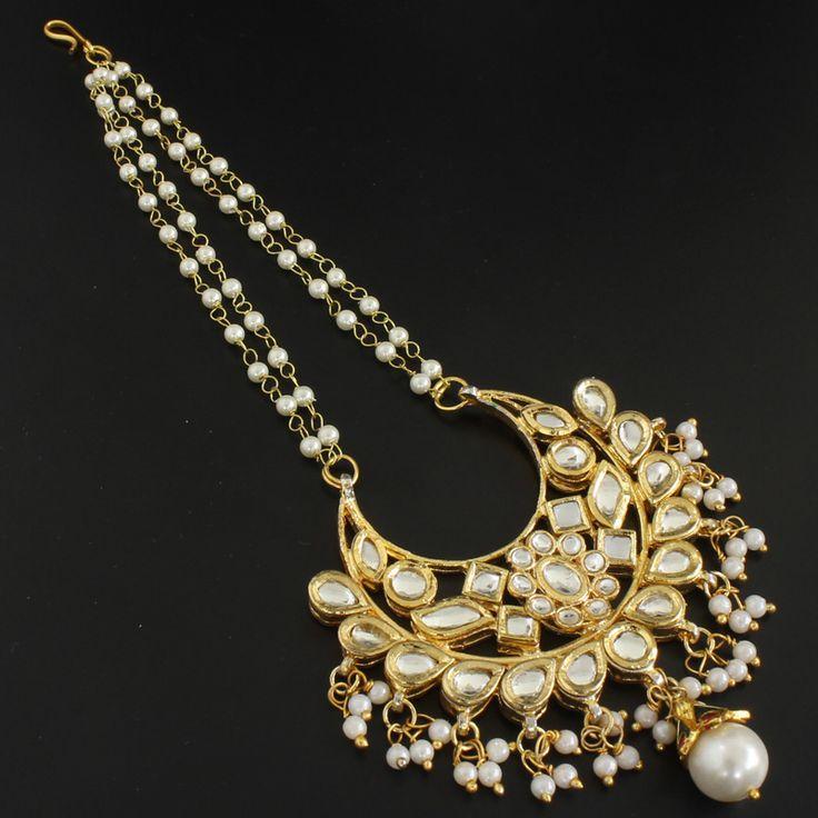 Pearl Beads Kundan Chand Maang Tikka @ Indiatrend For $43.99USD