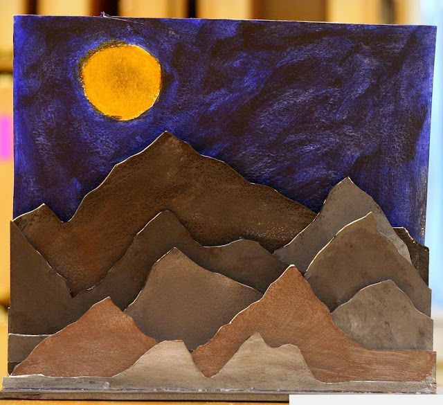 Planar Landscape sculptures...simplified version without exacto knife for 6th grade?