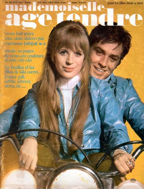 """Marianne Faithfull and Alain Delon on the cover of """"Mademoiselle Age Tendre"""" 