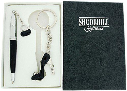 SHJ Ladies Black Crystal Set Pen & Matching High Heel Shoe/Stiletto Keyring Gift Set SC791