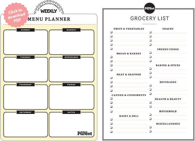 111 best Food - Meal Planner images on Pinterest Organizers - school menu template