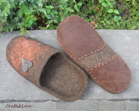 Gift for him Felted slippers men wool slippers with by Crafts2Love