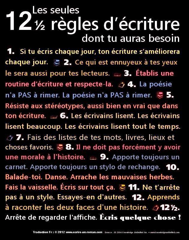 12 RÈGLES D'ÉCRITURE
