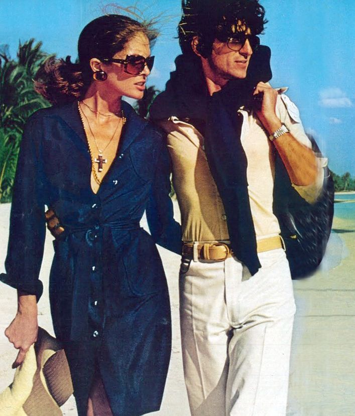 Hot days with Lois Chiles and Sam Waterston by Chris Von Wagenheim for VOGUE, 1973