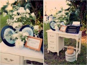 libro de firmas u maquina de escribir para bodas vintage boda