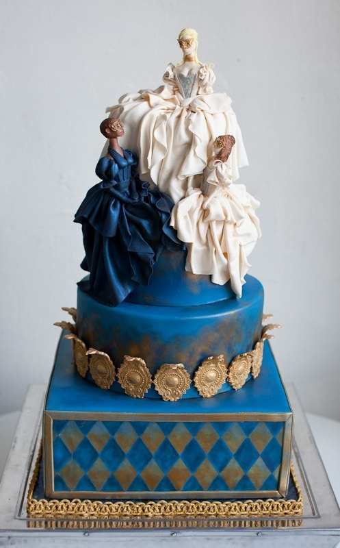 Hand-draped Masquerade Engagement Cake (No words for how fabulous this one is.) By The Butter End Cakery