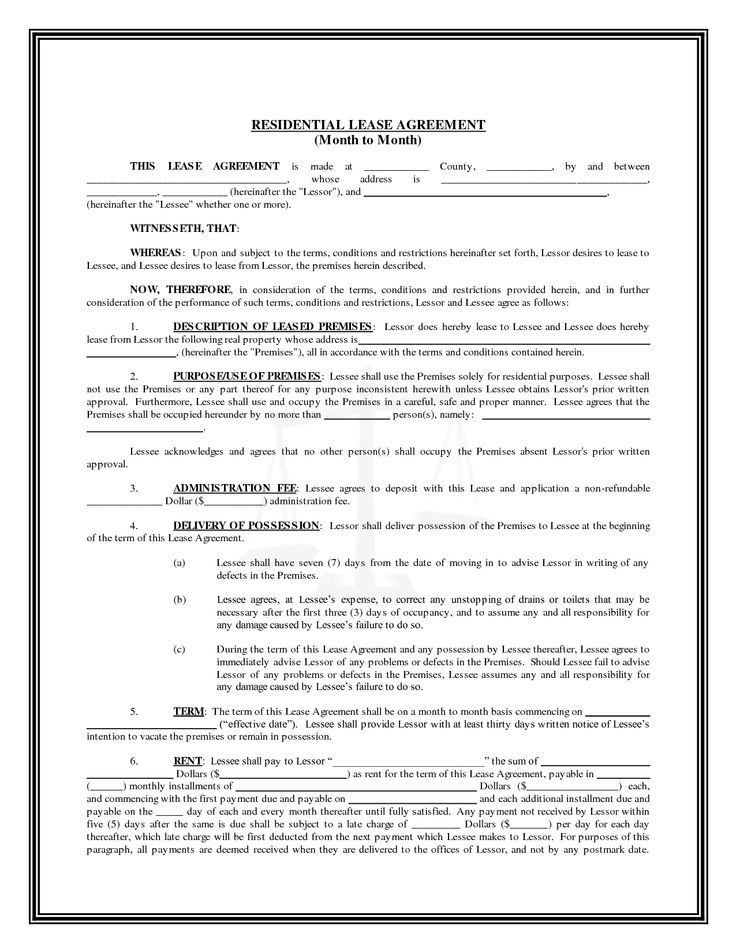 Free Printable Residential Lease Agreement | Residential Lease Agreement ( Month To Month)