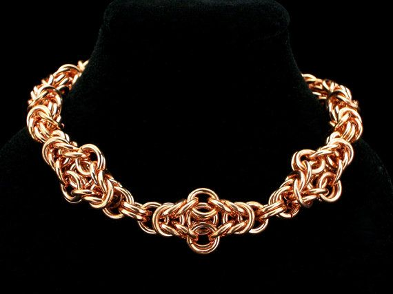 Copper Byzantine Cross Weave Bracelet