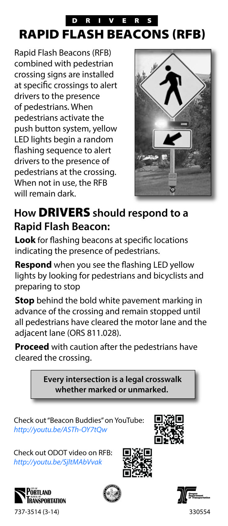 Rapid flash beacons rfb by the oregon department of transportation