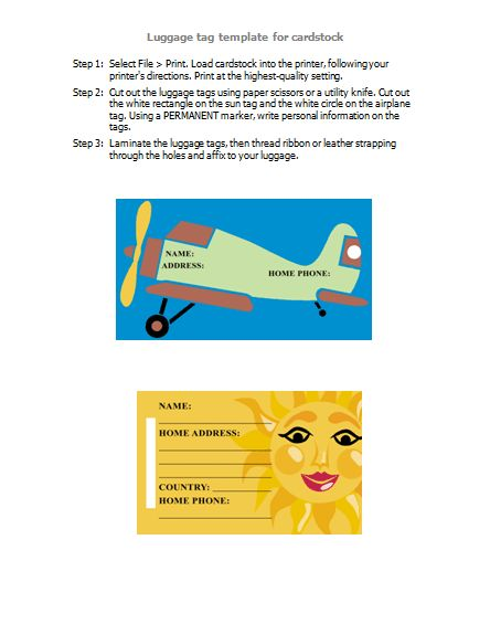 Luggage tags - Templates - Office.com
