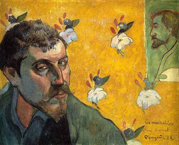 paul gauguin,Self Portrait: Les Miserables (Sefiller), 1888