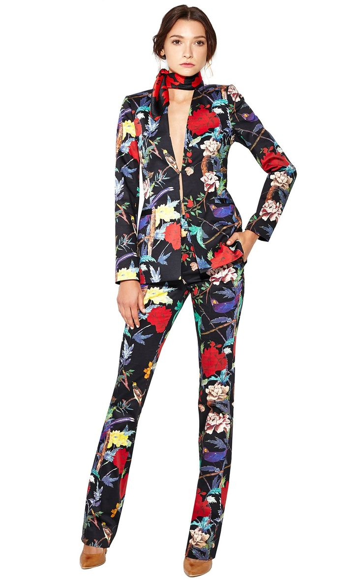 ALICE + OLIVIA LONG COLLARLESS FLOWER BLAZER